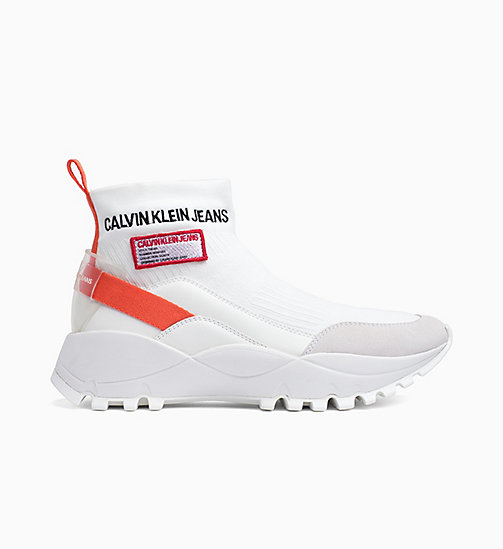 CALVIN KLEIN JEANS Knit High-Top Trainers - BRIGHT WHITE/ORANGEADE - CALVIN KLEIN JEANS TRAINERS - main image