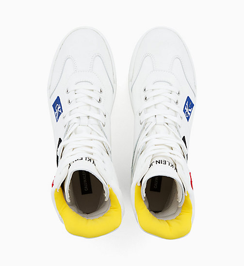 CALVIN KLEIN JEANS Leather High-Top Trainers - BRIGHT WHITE - CALVIN KLEIN JEANS TRAINERS - detail image 1