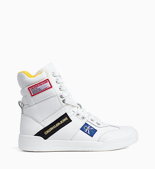 CALVIN KLEIN JEANS Leather High-Top Trainers - BRIGHT WHITE - CALVIN KLEIN JEANS TRAINERS - main image
