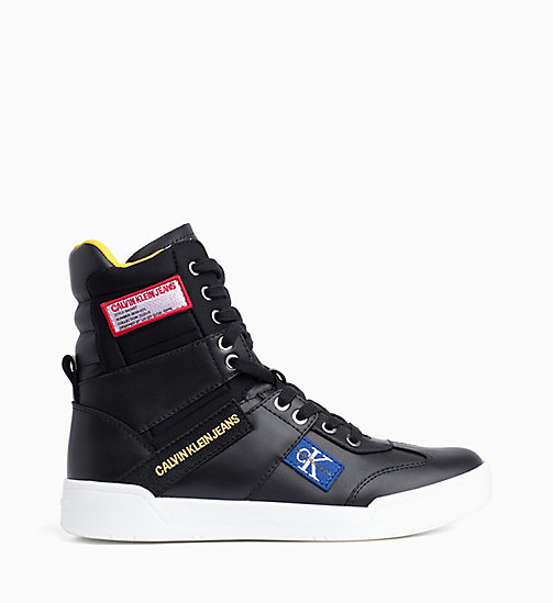 CALVIN KLEIN JEANS Leather High-Top Trainers - BLACK - CALVIN KLEIN JEANS TRAINERS - main image
