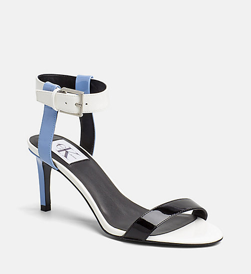 CALVIN KLEIN JEANS Patent Leather Heeled Sandals - SKY BLUE/WHITE - CALVIN KLEIN JEANS SANDALS - main image
