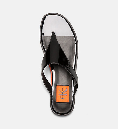 CALVIN KLEIN JEANS Patent Leather Sandals - BLACK - CALVIN KLEIN JEANS SHOES & ACCESORIES - detail image 1