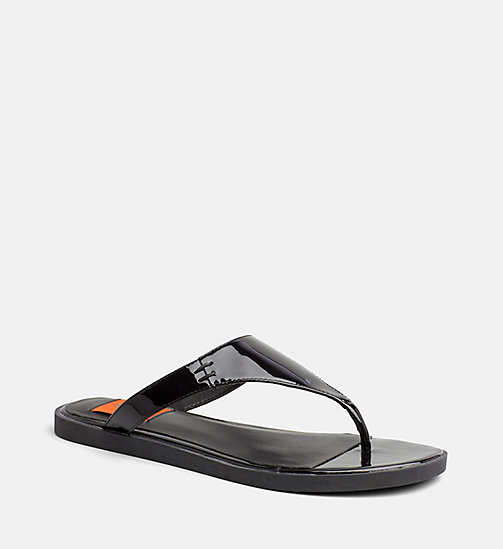 CALVIN KLEIN JEANS Patent Leather Sandals - BLACK -  SANDALS - main image