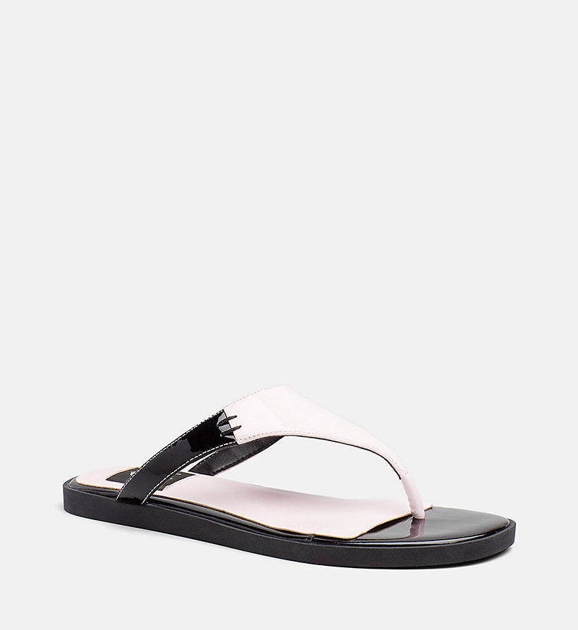 CALVIN KLEIN JEANS Patent Leather Sandals - BLACK - CALVIN KLEIN JEANS WOMEN - main image