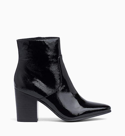 CALVIN KLEIN JEANS Patent Leather Ankle Boots - BLACK - CALVIN KLEIN JEANS BOOTS - main image