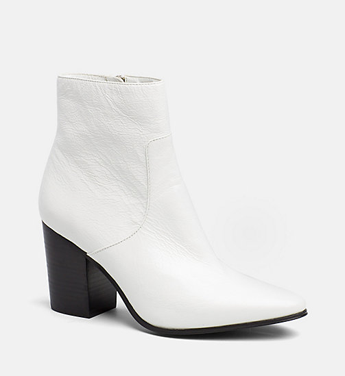 CALVIN KLEIN JEANS Patent Leather Ankle Boots - WHITE - CALVIN KLEIN JEANS BOOTS - main image