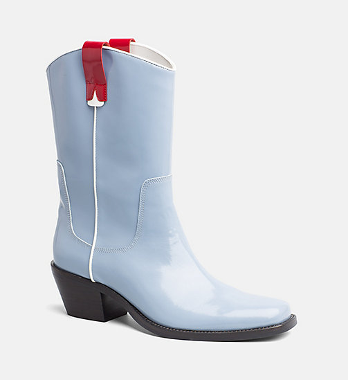 CALVIN KLEIN JEANS Leather Cowboy Boots - LIGHT BLUE/RED - CALVIN KLEIN JEANS BOOTS - main image