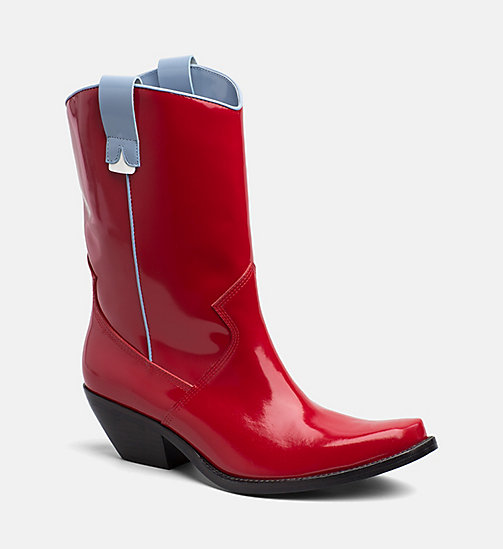 CALVIN KLEIN JEANS Leather Cowboy Boots - RED/LIGHT BLUE - CALVIN KLEIN JEANS BOOTS - main image