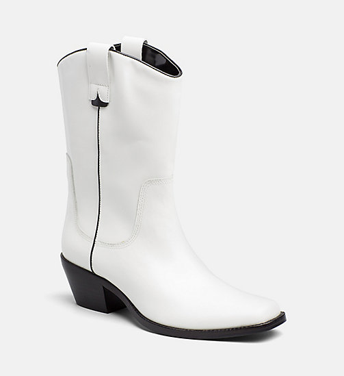CALVIN KLEIN JEANS Leather Cowboy Boots - WHITE BLACK -  #MYCALVINS WOMEN - main image