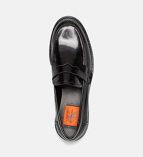 CALVIN KLEIN JEANS Leather Loafers - BLACK - CALVIN KLEIN JEANS FLAT SHOES - detail image 1