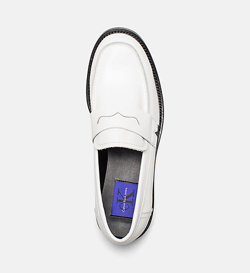 CALVIN KLEIN JEANS Leather Loafers - WHITE BLACK - CALVIN KLEIN JEANS FLAT SHOES - detail image 1