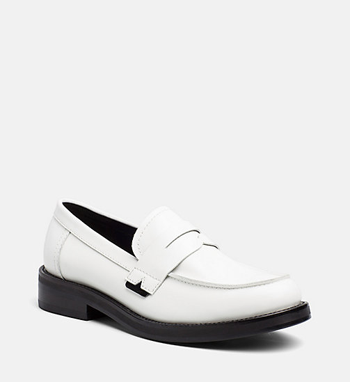 CALVIN KLEIN JEANS Leather Loafers - WHITE BLACK - CALVIN KLEIN JEANS FLAT SHOES - main image