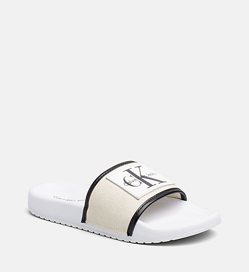 CALVIN KLEIN JEANS Canvas Sliders - NATURAL/WHITE - CALVIN KLEIN JEANS HEAT WAVE - main image