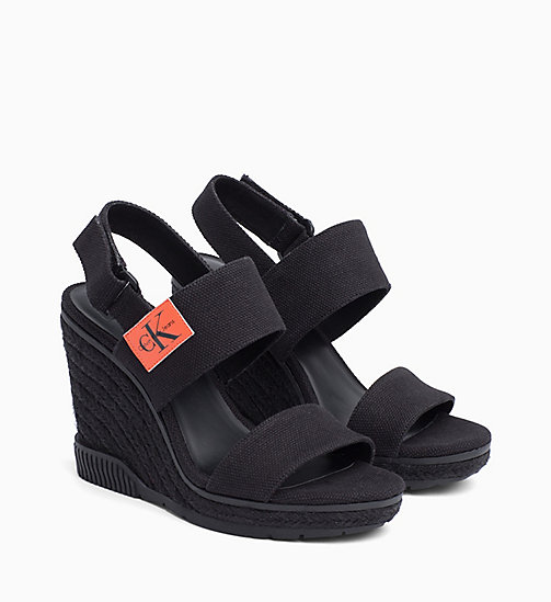 CALVIN KLEIN JEANS Canvas Wedge Sandals - BLACK - CALVIN KLEIN JEANS SANDALS - detail image 1