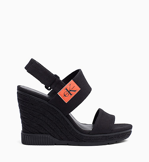 CALVIN KLEIN JEANS Canvas Wedge Sandals - BLACK - CALVIN KLEIN JEANS SANDALS - main image