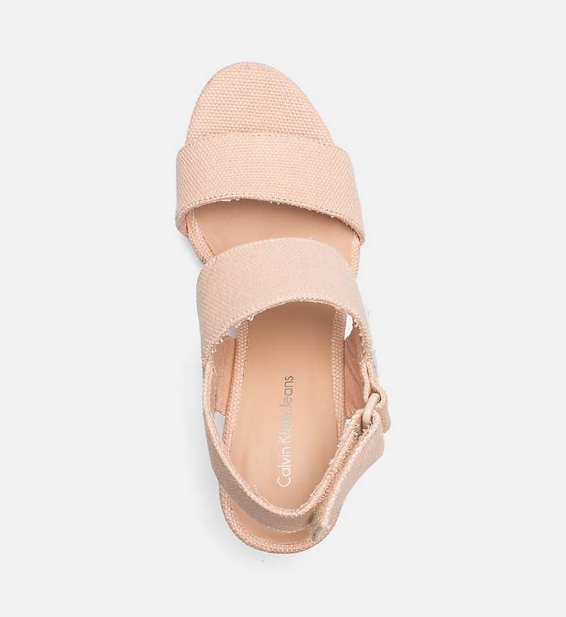 CALVIN KLEIN JEANS Canvas Wedge Sandals - OFF WHITE - CALVIN KLEIN JEANS WOMEN - detail image 1