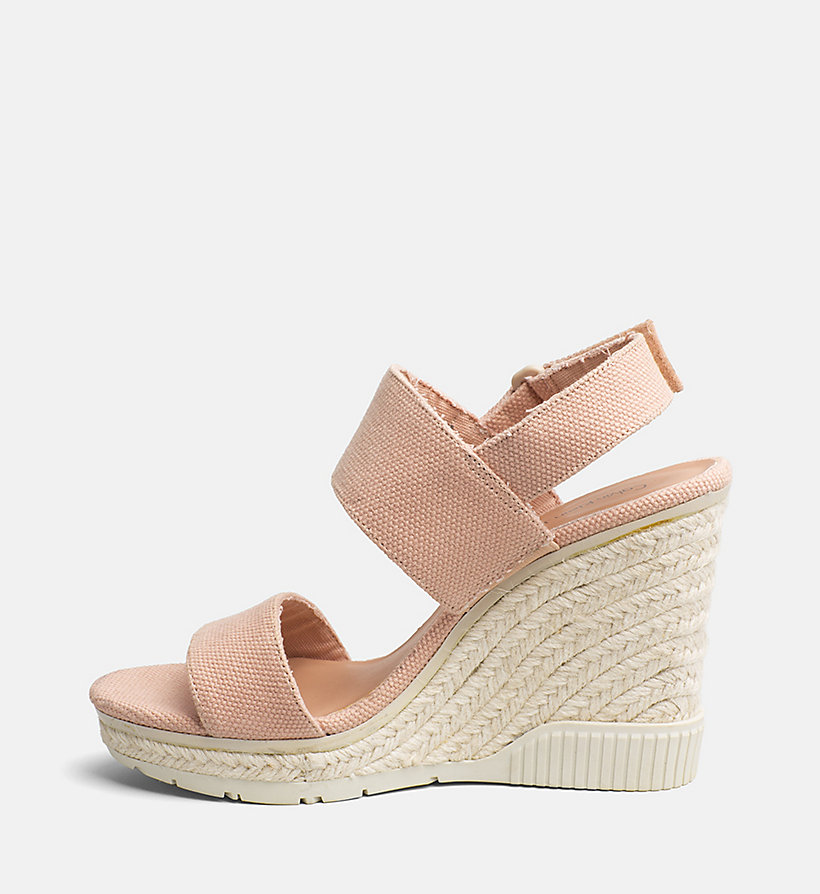 CALVIN KLEIN JEANS Canvas Wedge Sandals - OFF WHITE - CALVIN KLEIN JEANS WOMEN - detail image 2