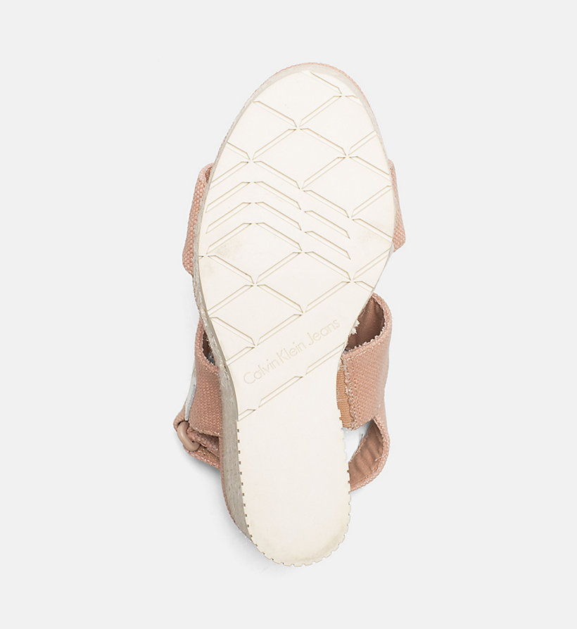 CALVIN KLEIN JEANS Canvas Wedge Sandals - OFF WHITE - CALVIN KLEIN JEANS WOMEN - detail image 4