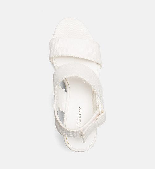 CALVIN KLEIN JEANS Canvas Wedge Sandals - OFF WHITE - CALVIN KLEIN JEANS SANDALS - detail image 1