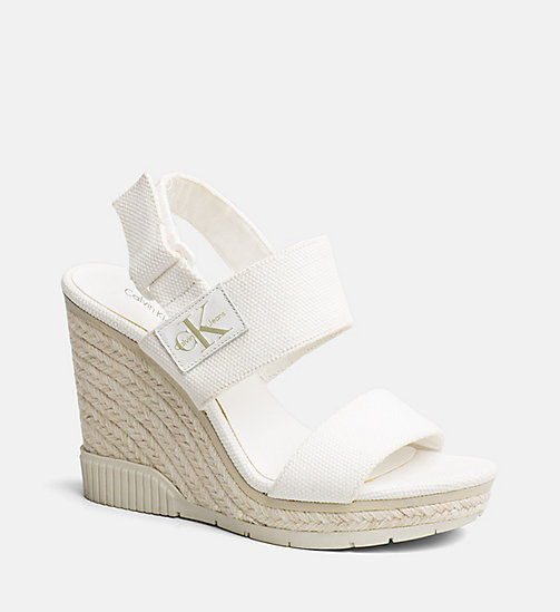 CALVIN KLEIN JEANS Canvas Wedge Sandals - OFF WHITE - CALVIN KLEIN JEANS SANDALS - main image