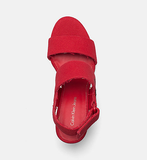 CALVIN KLEIN JEANS Canvas Wedge Sandals - SCARLET - CALVIN KLEIN JEANS SANDALS - detail image 1