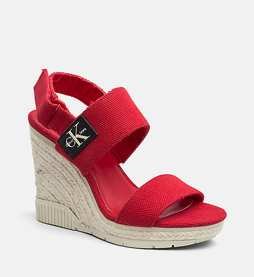 CALVIN KLEIN JEANS Canvas Wedge Sandals - SCARLET - CALVIN KLEIN JEANS SANDALS - main image