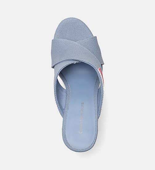 CALVIN KLEIN JEANS Canvas Wedge Sandals - LIGHT BLUE -  SANDALS - detail image 1