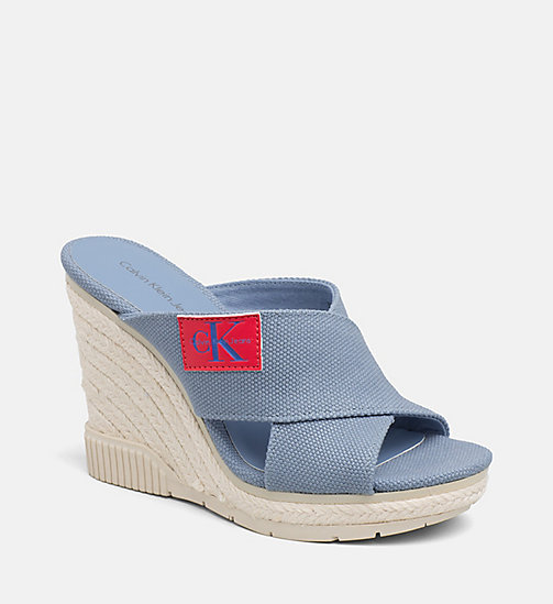 CALVIN KLEIN JEANS Canvas Wedge Sandals - LIGHT BLUE -  SANDALS - main image