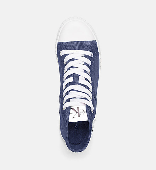 CALVIN KLEIN JEANS Nylon High-Top Sneakers - STEEL BLUE - CALVIN KLEIN JEANS TRAINERS - detail image 1