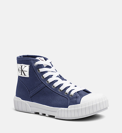 NEW CALVIN KLEIN JEANS Nylon High-Top Sneakers - STEEL BLUE - CALVIN KLEIN  JEANS TRAINERS ...