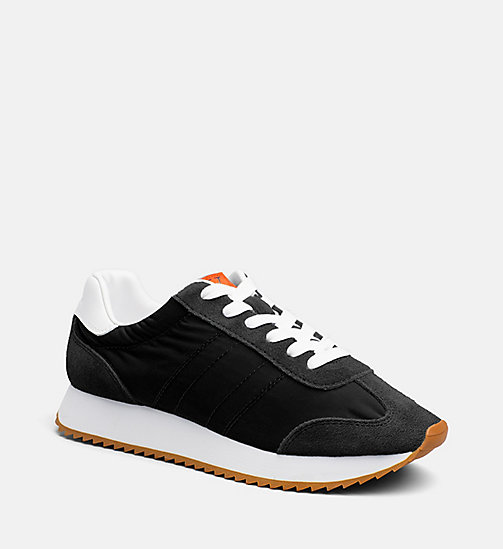 CALVIN KLEIN JEANS Suede Nylon Sneakers - BLACK - CALVIN KLEIN JEANS SHOES & ACCESSORIES - main image