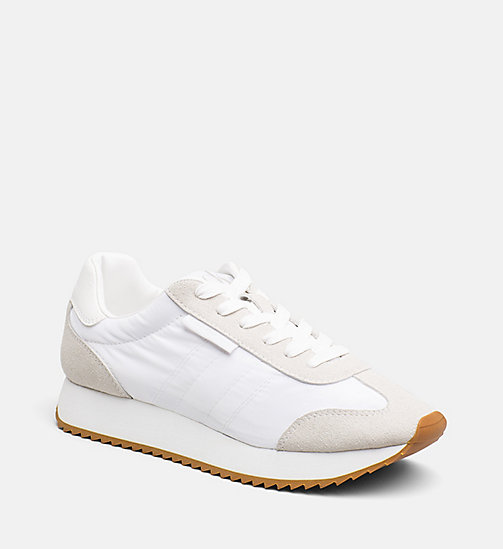 CALVIN KLEIN JEANS Suede Nylon Sneakers - OFF WHITE - CALVIN KLEIN JEANS SHOES & ACCESORIES - main image