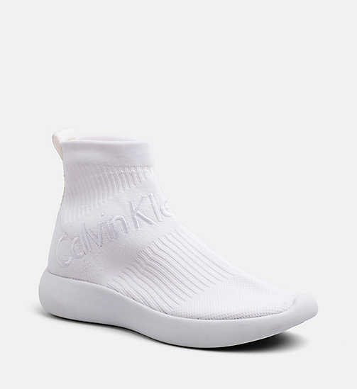 CALVIN KLEIN JEANS Knit High-Top Sneakers - WHITE - CALVIN KLEIN JEANS TRAINERS - main image