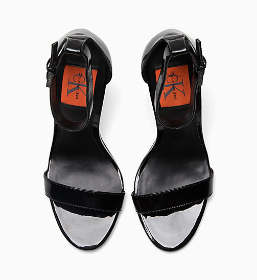 CALVIN KLEIN JEANS Patent Leather Heeled Sandals - BLACK - CALVIN KLEIN JEANS SANDALS - detail image 1