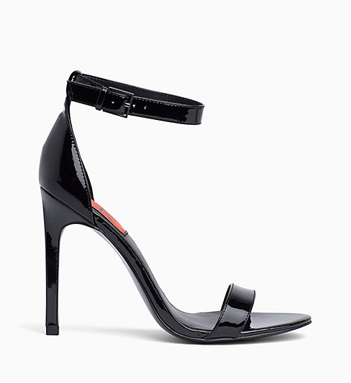 CALVIN KLEIN JEANS Patent Leather Heeled Sandals - BLACK - CALVIN KLEIN JEANS SANDALS - main image