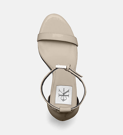 CALVIN KLEIN JEANS Patent Leather Heeled Sandals - SAND - CALVIN KLEIN JEANS SANDALS - detail image 1
