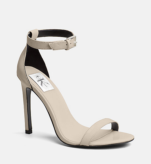 CALVIN KLEIN JEANS Patent Leather Heeled Sandals - SAND - CALVIN KLEIN JEANS SANDALS - main image
