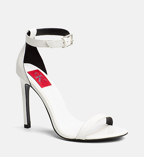 CALVIN KLEIN JEANS Patent Leather Heeled Sandals - WHITE - CALVIN KLEIN JEANS SANDALS - main image