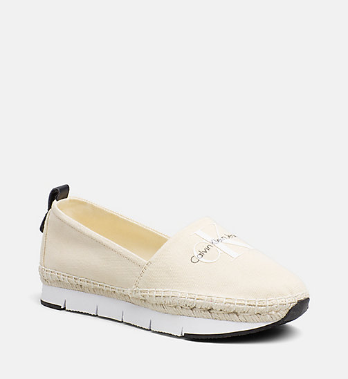 CALVIN KLEIN JEANS Canvas Slip-On Shoes - NATURAL/WHITE - CALVIN KLEIN JEANS SHOES & ACCESORIES - main image