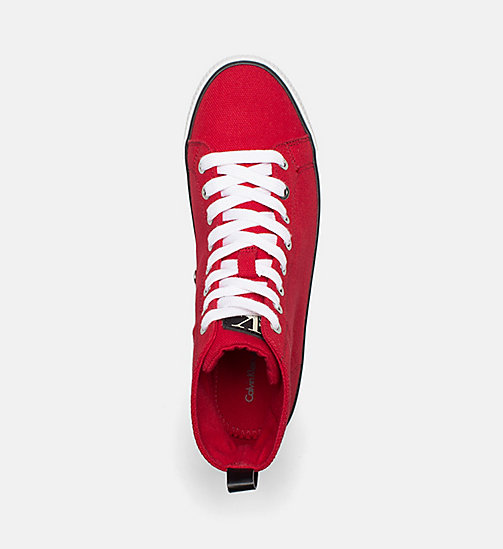 CALVIN KLEIN JEANS Denim High-Top Sneakers - RED - CALVIN KLEIN JEANS SHOES & ACCESORIES - detail image 1