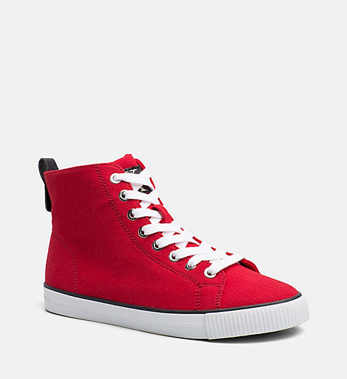 CALVIN KLEIN JEANS Denim High-Top Sneakers - RED - CALVIN KLEIN JEANS SHOES & ACCESORIES - main image