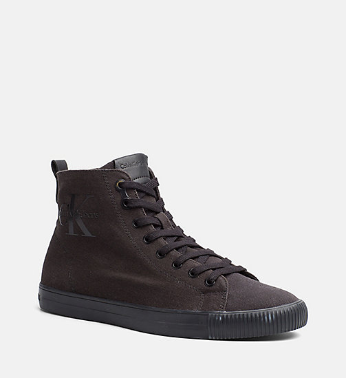 CALVIN KLEIN JEANS Canvas High-Top Sneakers - BLACK/BLACK - CALVIN KLEIN JEANS SHOES & ACCESSORIES - main image