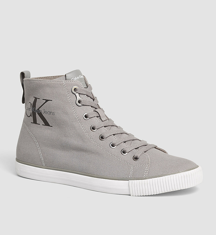 CALVIN KLEIN JEANS Canvas High-Top Sneakers - BLACK/BLACK - CALVIN KLEIN JEANS MEN - main image