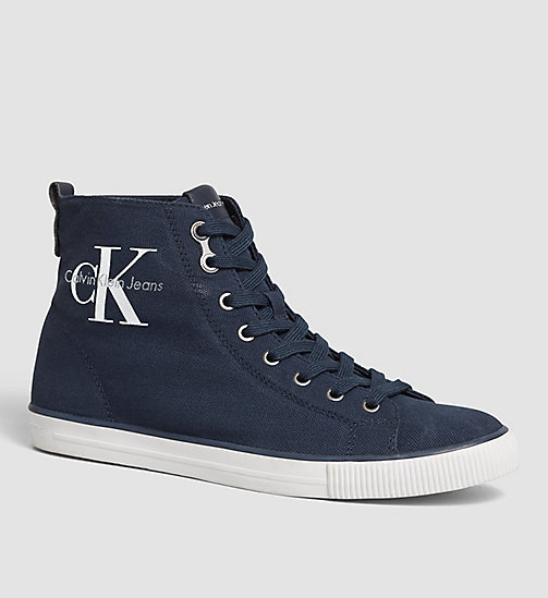 CALVIN KLEIN JEANS Canvas High-Top Sneakers - BLACK/NAVY - CALVIN KLEIN JEANS SHOES - main image