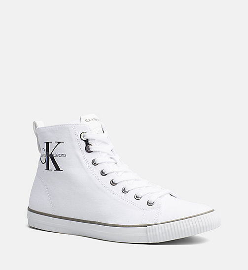 CALVIN KLEIN JEANS Canvas High-Top Sneakers - BLACK/WHITE - CALVIN KLEIN JEANS SHOES - main image