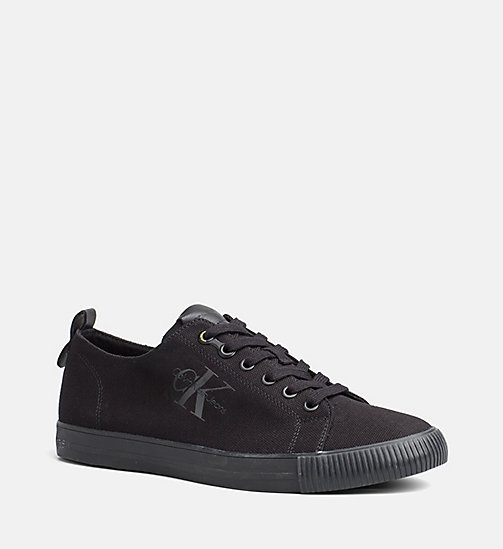 CALVIN KLEIN JEANS Canvas Sneakers - BLACK - CALVIN KLEIN JEANS SHOES - main image