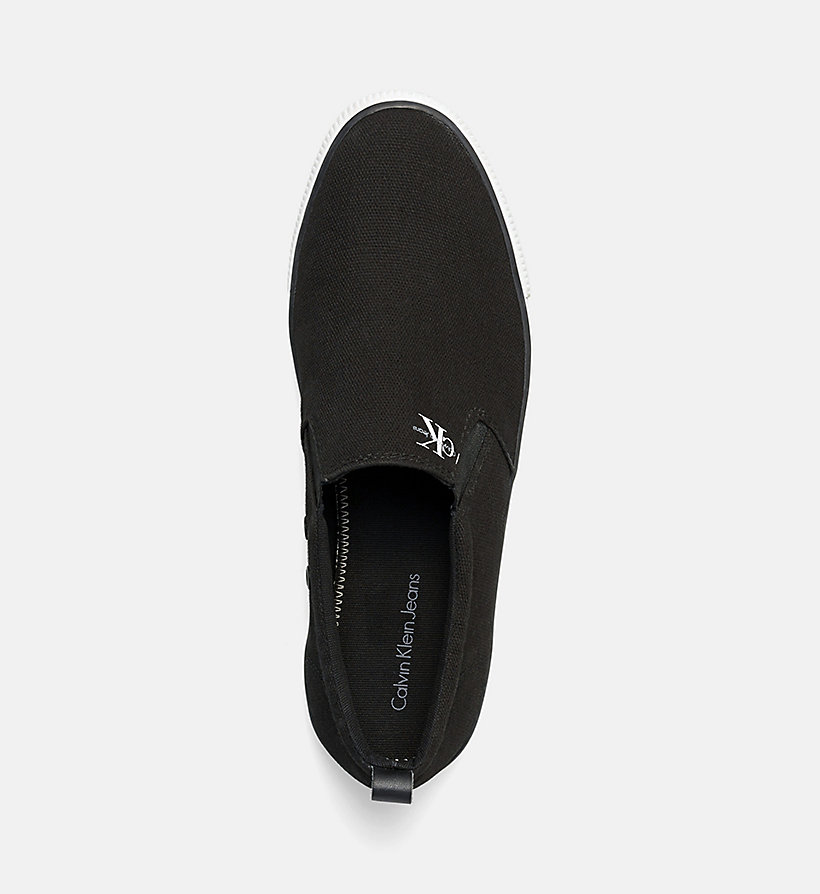 CALVIN KLEIN JEANS Canvas Slip-On Shoes - BLACK/NAVY - CALVIN KLEIN JEANS MEN - detail image 1