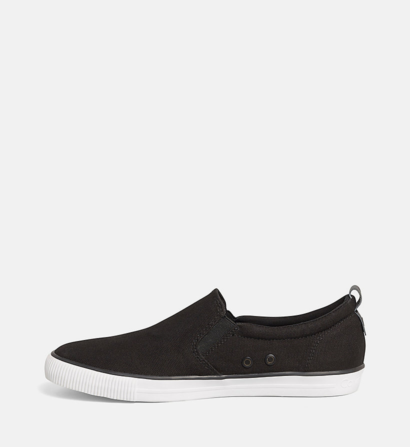 CALVIN KLEIN JEANS Canvas Slip-On Shoes - BLACK/NAVY - CALVIN KLEIN JEANS MEN - detail image 2