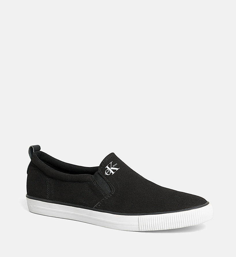 CALVIN KLEIN JEANS Canvas Slip-On Shoes - BLACK/NAVY - CALVIN KLEIN JEANS MEN - main image