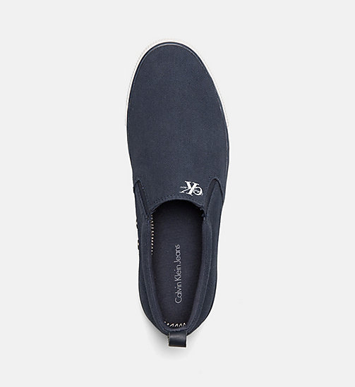 CALVIN KLEIN JEANS Canvas Slip-On Shoes - BLACK/NAVY - CALVIN KLEIN JEANS TRAINERS - detail image 1